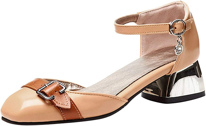 Wallhewb Women's Trendy Ankle Strap Sandals - Square Contrast color Pendant - Buckle Block Low Heels shoes Ankle Strap Onsale Dress Party Girl Low Top Joker Dark Green 8 M US Strap Sandals