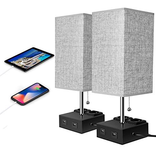 Lámpara de mesilla de noche USB Lámpara de mesa y escritorio gris con 2 puertos de carga rápida USB (Gris 1-2PCS)