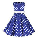 Livoral Baby Madchen Strampler Kinder Teen Kinder Mädchen Vintage 1950er Jahre Retro ärmellose Dot Print lässige Kleidung(Blau,X-Large)