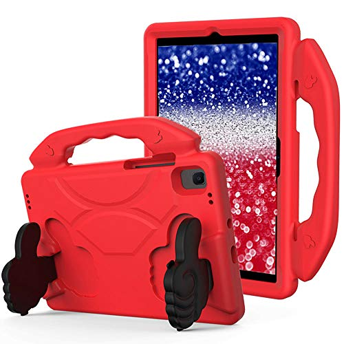 SDTEK Case Compatible with Samsung Galaxy Tab A7 (2020) 10.4 with built in Stand - Strong Rugged Tablet Cover with Carrying Handle Child Friendly (Red)