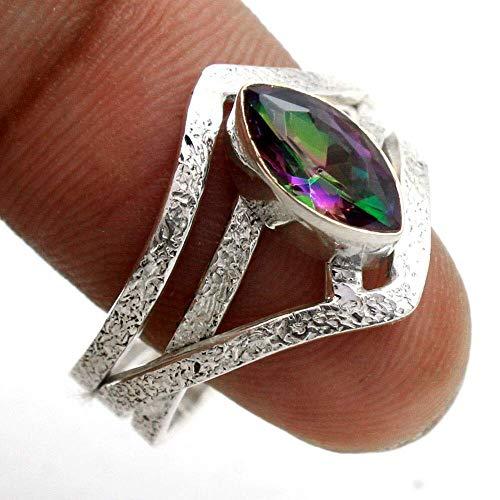 Mystic-Topaz 925 Sterling Silver Rings for Women, Multiple-Color Bridesmaid Rings, Marquise Gemstone Rings, Textured Rings, bezel Set Handmade Rings
