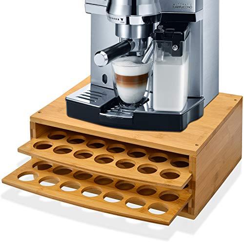 WAYTRIM 2-tier 70 Capacity Bamboo Coffee Pod Holder Wood Storage Organizer with Drawer for Keurig Pods