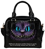 Female High-grade PU Leather Shell Shoulder Handbags Top Handle Bags Purse with Alice In Wonderland Black Cheshire Cat Different Pattern