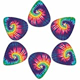 AFPANQZ 6pcs Guitar Picks .96 Tie Dye Rainbow Premium ABS Plastic Picks for Acoustic Electric Guitars Bass or Ukulele Thick 0.96 mm Heavy Gauges for Women Teen Girls Colored