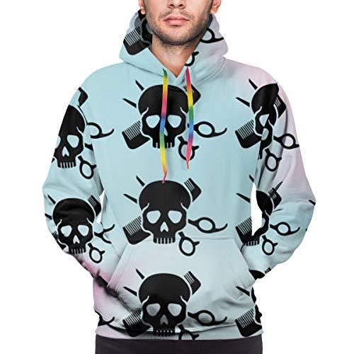 Ye Hua Schädel mit Kamm eine Schere Friseursalon Unisex 3D Neuheit Hoodies Pullover Sweatshirt Taschen Weihnachten L.