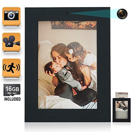 16GB Cámara Espía Vídeo Grabadora Foto Cuadro con Funciones de Movimiento Activado Vídeo Grabación y Toma de Fotos, Admite Tarjeta de Memoria de 64GB en Máx