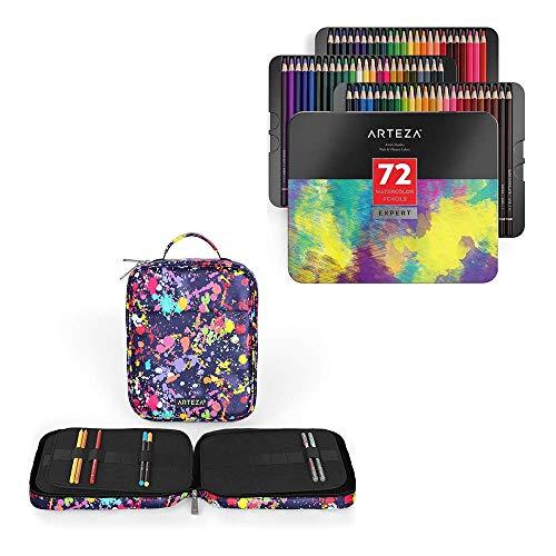 Arteza Professional Watercolor Pencils and Artist Pencil Case Organizer Bundle