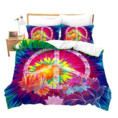 Feelyou Boho Hippie Psychedelic Flowers Duvet Cover Set Queen Size Colorful Peace Sign Bedding Set for Boys Girls Decorative Rainbow Tie Dye Comforter Cover with 2 Pillow Shams, 3Pcs, Zipper