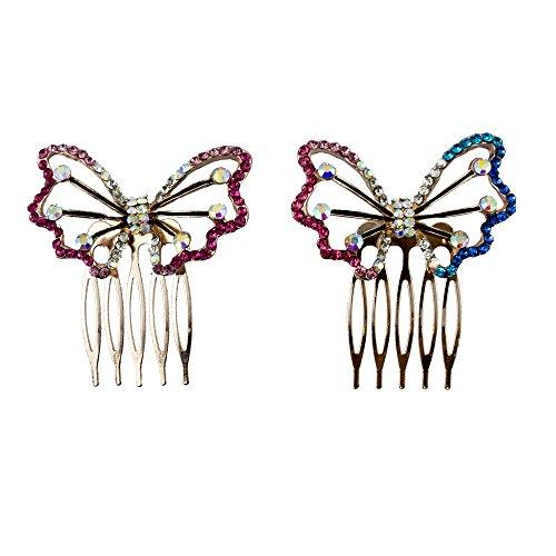 HAND Joli Papillon Cristal et émail Cheveux décoration Peigne Clips - 60 mm - Pack de 2