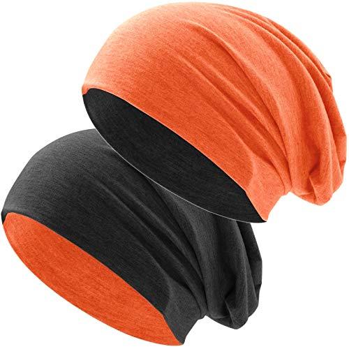 Hatstar Bicolor Jersey Slouch Long Beanie Mütze, leicht und weich, Reversible Beanie für Damen und Herren (Zwei-farbig | Bicolor orange-schwarz)