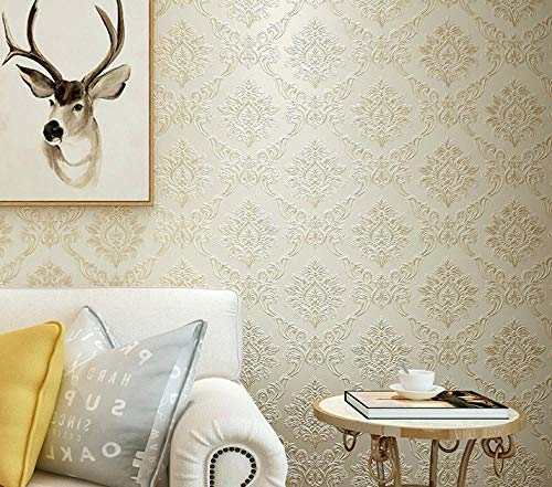 3D Embossed Embossed Living Room Damascus Non-Woven Fabric Background Wall Paper Cream Yellow