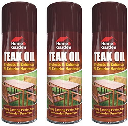 Garden Furniture Teak Oil Spray (3 Cans) 400ml Protect & Enhances All...