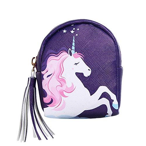 RQWY Monedero Mujer Monederos Unicornio Diseño Impreso Rainbow Horse Mini Monedero Niños Llavero Bolsos de Tarjetas de Decoración Decoración Envío de la Gota