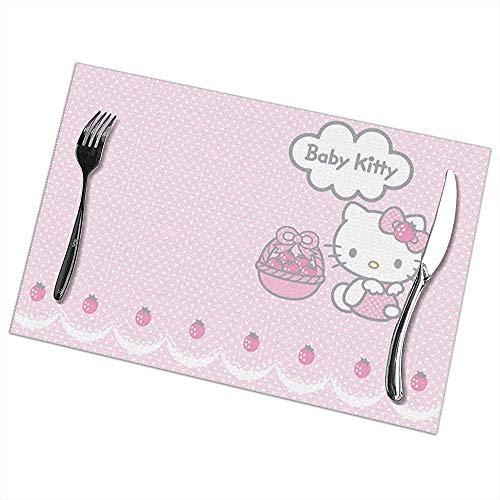 Napperons Hello Baby Kitty Set de table Napperons lavables Set de 6 pour table à manger
