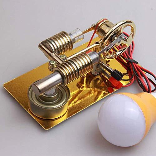 Modelo de Motor Stirling de Aire Caliente, Modelo de Motor Stirling pequeño con generador, con Bombilla incandescente, invención Infantil, Regalo Experimental para la Escuela, educación