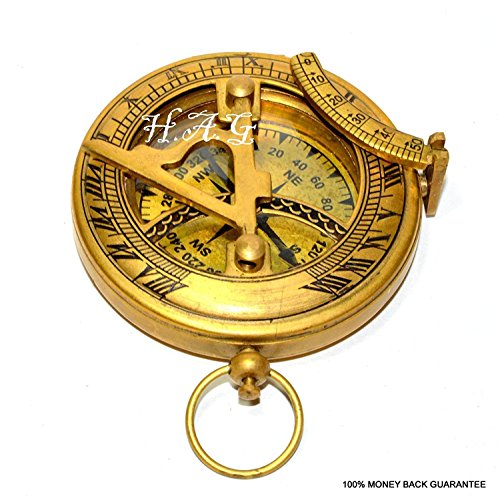 Safa Nautischer Messing-Kompass Militär oder Schiffe Nautische Taschenuhr Stil Sonnenuhr Kompass Arbeitserstellung Messing Vintage Kompass mit Antik-Finish