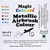 Airbrush Color for Cake Decoration Pack of 6 Magic Colours Metallic Airbrush Colors (Set A)