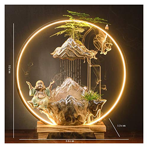 YIFEI2013-SHOP Indoor Water Fountain Opening Gifts, Water Fountain, Lighting Ring, Lucky Wind, Atomization and Humidification, Office Desktop Landscape Decorative Fountain (Color : T)