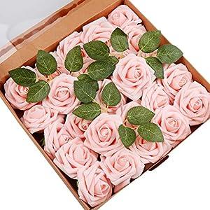 Mitening Rosas Artificiales de Espuma, Falsa Rosas Artificiales de Espuma de Polietileno, para Bricolaje, Ramos de Boda, Centros de Mesa, Decoración para el Hogar (Rosa Claro, 25pcs)