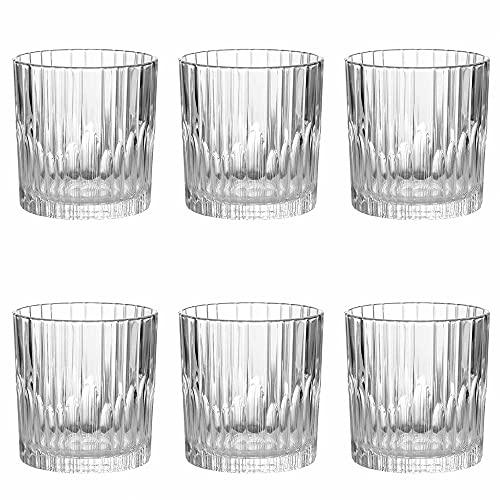 Set de 6 Vasos de Agua y Bebidas Alcohólicas, Vasos de Cristal Transparentes, Aptos para Microondas y Lavavajillas (31cl)