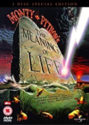 Promotional image for Monty Python's The Meaning of Life showing gravestone with the film's title written on it