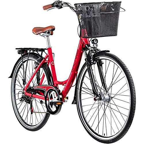 Galano 28 Zoll Prelude Citybike Stadt Fahrrad Licht 7 Gang, Farbe:rot