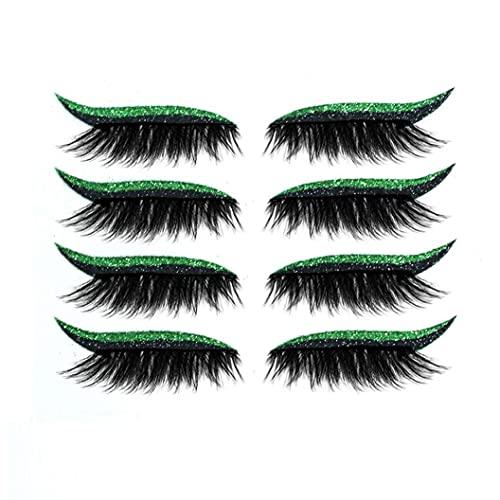 Uayasily Pegatinas De Los Delineadores De Colores Pegatinas De Maquillaje del Párpado Glitter Lineros De Ojos Glitter Cinta De Párpados Fiesta Y Maquillaje Diario Verde