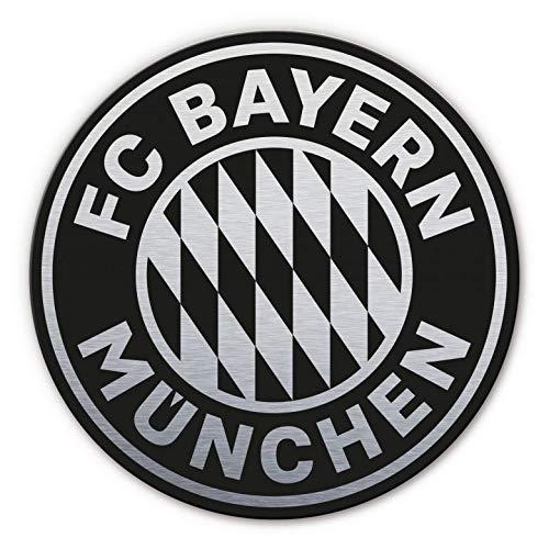 Alu-Dibond mit Silbereffekt Wandbild FC Bayern München Logo rund silber schwarz Bundesliga Fußball Mannschaft Vereinswappen Sportverein mit Wandhalterung Wall-Art - Ø 35c