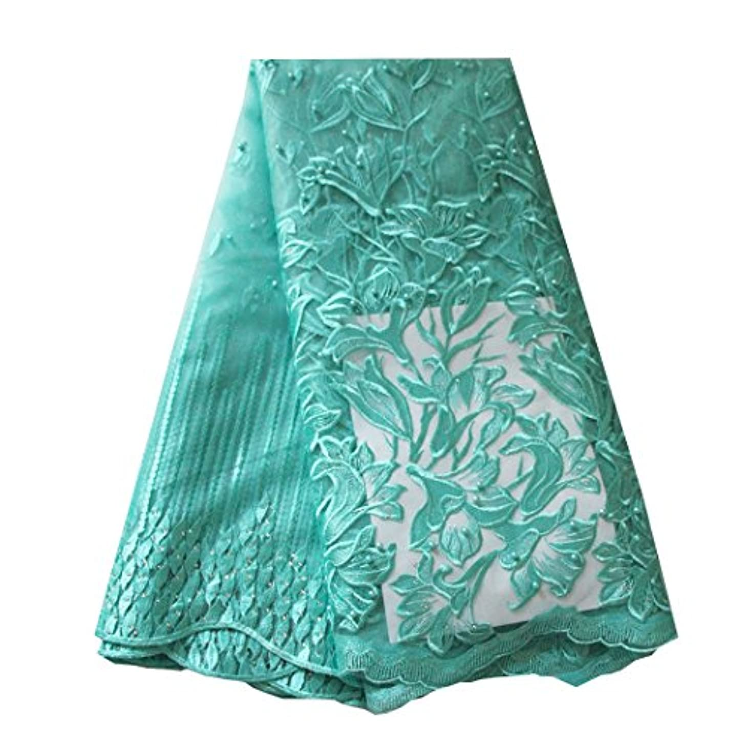 African Lace Fabric Nigerian French Lace Net Fabric Embroidered Fabric for Wedding Party ZS728(Aqua)