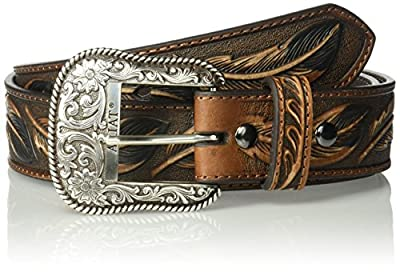 Ariat Men's Feather Embosed Belt, brown, 34