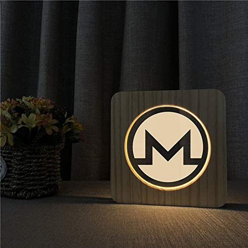 LED Lampe aus Holz im Monero Logo Design - Perfektes Geschenk für Krypto Fans