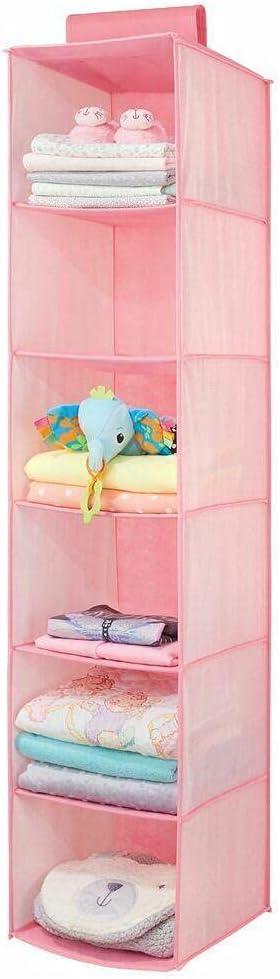 Fabric Over Closet Rod Hanging Fees free Organizer Pink 6 Shelves - Hangi Brand new