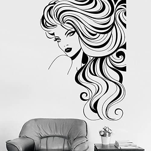 Zdklfm69 Adhesivos Pared Pegatinas de Pared Salón de Belleza Vinilo Chica Labio Interior Pestañas largas Primer Plano Mural Belleza Etiqueta de la Ventana 76x106cm