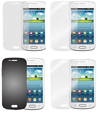 Cadorabo Hülle kompatibel Bildschirmschutzfolien für Samsung Galaxy ACE 2 Schutzfolien in HIGH Clear 4 Folien (1x Privacy 1x Spiegel 1x Matt 1x Anti-Fingerabdruck)