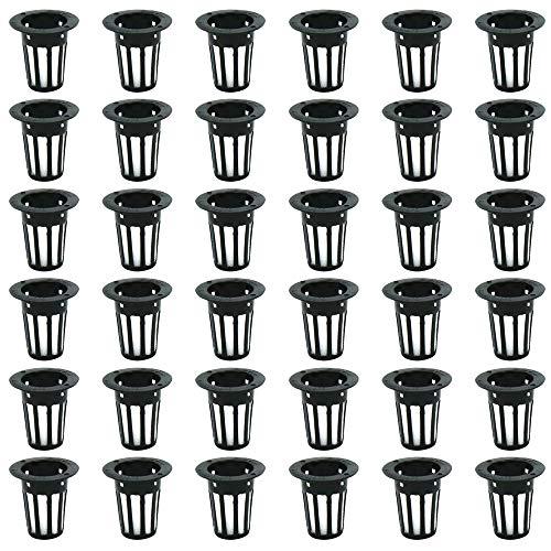 (エイベクト) 水耕栽培キット 定植かご メッシュポット 鉢 スポンジ セット 家庭菜園 (内径22mm ブラック 30個)