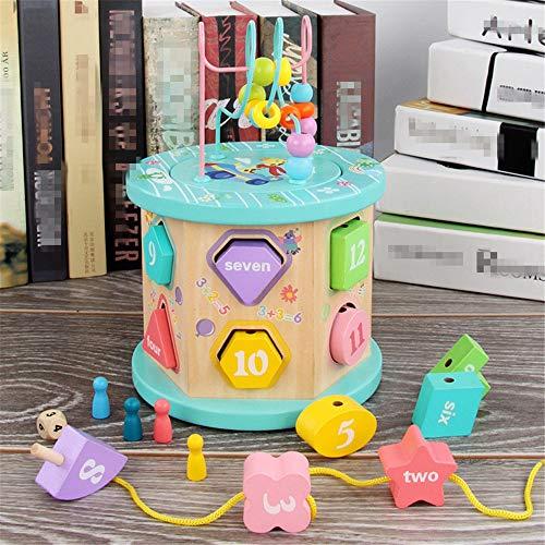 KDOAE Bead Maze Cubo de la Actividad con el Grano Laberinto del bebé Incluye Forma clasificador, Shape FEATUES Aprendizaje de la Forma del Seleccionador Ranuras para Niños Pequeños