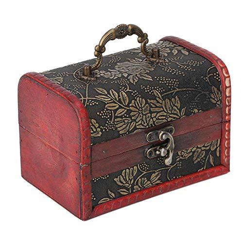 Caja de madera, Joyero de estilo retro, Caja de madera, Caja de joyería con impresión de superficie de estilo clásico de estilo antiguo, para oficina en casa