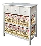 ts-ideen Commode Style Rustique 57 cm, étagère de Salle de Bain Blanc avec Deux...