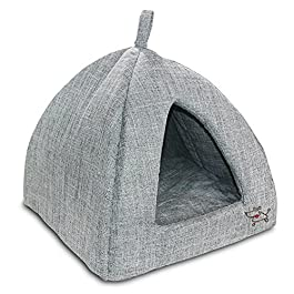 Best Pet Supplies Linen Tent Bed for Pets – Grey, Medium