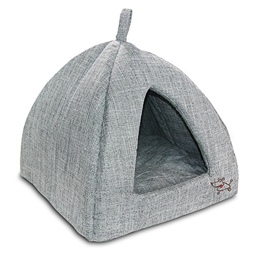 "Best Pet SuppliesPet Tent-Soft Bed for Dog and Cat by Best Pet Supplies - Gray Linen, 19"" x 19"" x H:19"""