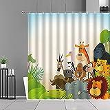 XCBN Color Creativo Jirafa Cortinas de Ducha Dibujos Animados Animales Lindos Oso Cortina de baño habitación Infantil baño Cortina de Ducha decoración Tela Impermeable Regalos A9 150x200cm