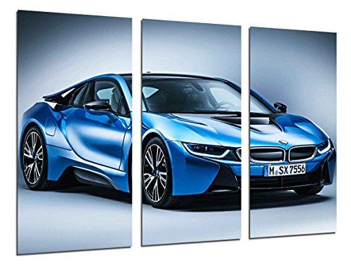 Cuadro Fotográfico Coche Deportivo BMW i8 Azul Tamaño total: 97 x 62 cm XXL