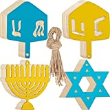 64 Pieces Hanukkah Wood Cutouts Set 32 Star Dreidel Menorah Shape Pendant Hanukkah Hanging Ornaments Unfinished Wooden Slices Wood Craft Tag with 32 Ropes for DIY Crafts Home Party Decorations