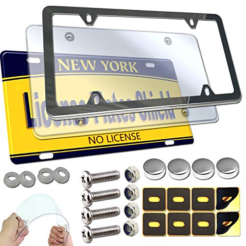 License Plate Frame Cover Kit- Clear Flat Plate Shield & Stainless Steel Car Tag Holder, Unbreakable Novelty Protective Cover Fit Standard US Plate, Mount Screws, Chrome Caps, 1 Pack For Front or Rear
