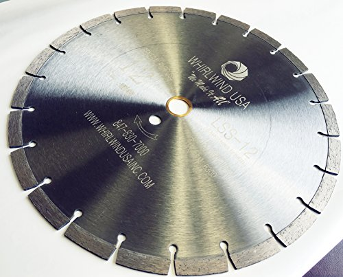 Whirlwind USA LSS 12-Inch Dry or Wet Cutting General Purpose Power Saw Segmented Diamond Blades for Concrete Stone Brick Masonry (12')