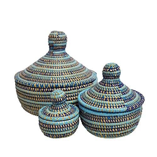 EA Déco Naturel & Design ABBSTBLE Les Boites Thiapou, Plastique, Tricolore Bleu, 20 x 20 x 20 cm