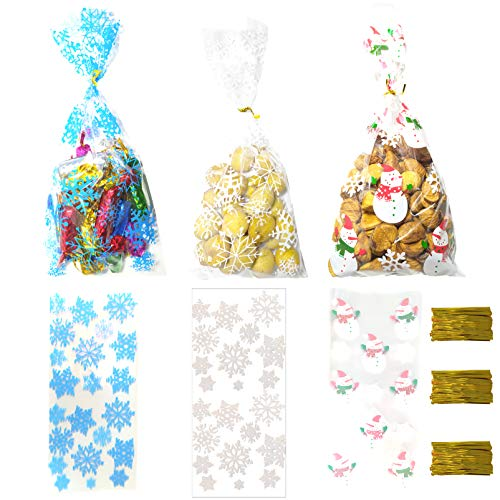 150 Pieces Christmas Snowflake Cellophane Treat Bags Winter Wonderland Party Candy Wrappers Bags Snowflake Frozen Candy Cookie Goodies Gift Bag with 150 Pieces Ties for Girls Boys Birthday Party Baby Shower Hanukkah Wedding Bridal Shower Party Favor Bags