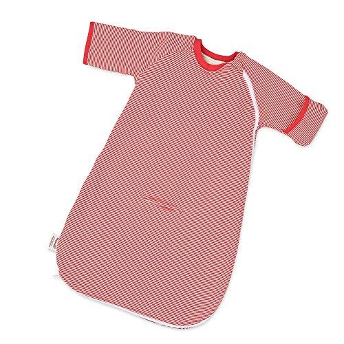 Hoppediz Baby-Schlafsack 86-98 rot gestreift mit Gurtschlitz