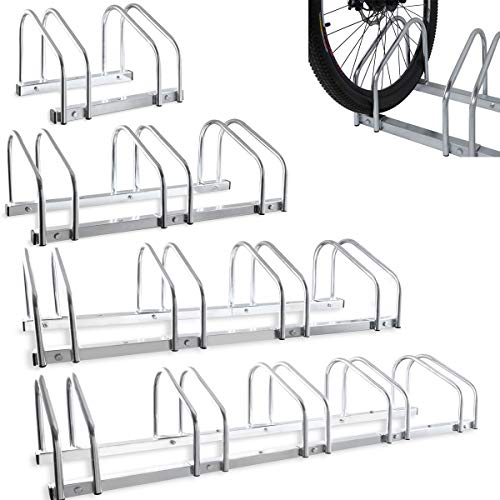 FiNeWaY Durable Floor Bike Rack or Wall Mounted Bikes Stand - Cycle Rack Storage Locking Stand Great For Garage, Garden Or Shed Security - Easy Installation Screws & Plugs Included (2 Position Rack)