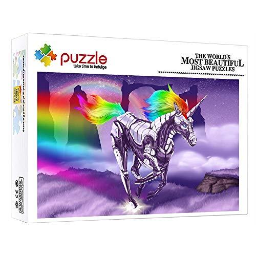 FFGHH Mini Puzzle Unicornio De Armadura De Hierro Jigsaw Puzzle 1000 Piezas Puzzles Puzzles 1000 Piezas Adultos Amigo Niños 38X26Cm